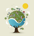 green planet earth tree with sustainable city vector image vector image