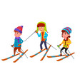 group of character standing children skier vector image vector image