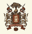 hand-drawn medieval coat arms for royal coffee vector image vector image