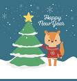 happy new year 2020 celebration cute squirrel with vector image