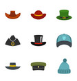 hat style icon set flat style vector image vector image