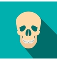 Human skull flat icon with shadow vector image