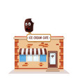 ice cream cafe colorful store front on white vector image vector image