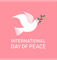 international day peace dove with a olive vector image