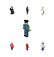 isometric people set of officer guy seaman and vector image