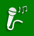 microphone sign with music notes paper vector image vector image
