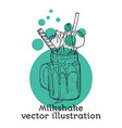 milk shake sketch style hand drawn vector image