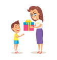 mom greets adorable son with winter holiday vector image vector image