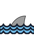 nature ocean waves with shark animal vector image
