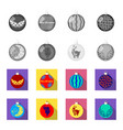 new year toys monochromeflat icons in set vector image