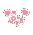pink lettering love hearts hanging cut line vector image