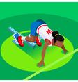 Running Starting Blocks Teen Marathon 3D Flat vector image vector image