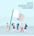 safe migration concept of diverse children group vector image