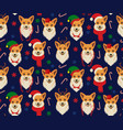 seamless christmas pattern with corgis vector image vector image