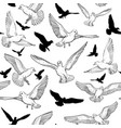 seamless pattern with birds silhouette vector image
