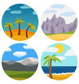 set of four natural cartoon landscapes vector image