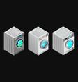 set of isolated washing machine icon vector image vector image