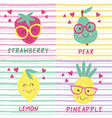 set of posters with cute fruits vector image vector image
