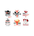 set red black logos for grill bar vector image vector image