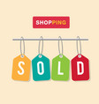 shopping colorful tag sold background image vector image