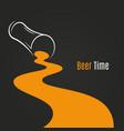 spilled beer glass design background beer logo vector image vector image