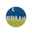 stonehenge sculpture at night landscape with moon vector image