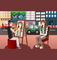 street painter drawing people face vector image