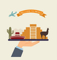 welcome to mexico attractions of mexico on a tray vector image