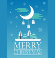 woods and moon on christmas card vector image vector image