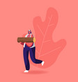 young woman carry wood for chopping and brewing vector image vector image