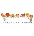 happy children holding blank poster vector image