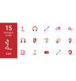 15 ear icons vector image vector image