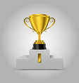 3d golden trophy on podium vector image