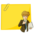 A boy in front of the big empty paper with a clip vector image vector image