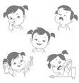 baby teeth set vector image vector image
