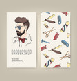 barbershop flyer with barber tools and trendy man vector image vector image