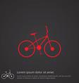 bike outline symbol red on dark background logo vector image vector image