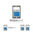 book and phone logo combination novel vector image