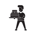 boy with a cake black concept icon boy vector image