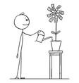 cartoon man or businessman watering flower vector image