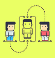 characters learn the basics of the philosophy of vector image
