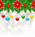 Christmas background with balls holly berry pine vector image