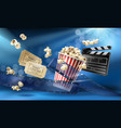 cinema background with 3d realistic objects vector image