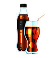 cola bottle icon soda bottle with black lable and vector image vector image