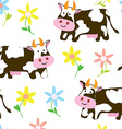 Cows and flowers - funny seamless pattern vector image vector image