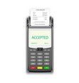 credit card payment pos terminal with pay receipt vector image