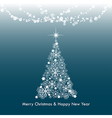 dark blue merry christmas greeting light tree vector image vector image