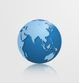 detailed globe with asia and australia vector image vector image