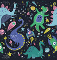 dinosaurs in space hand drawn color vector image