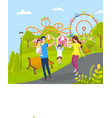 family relaxing at amusement park mother and dad vector image vector image